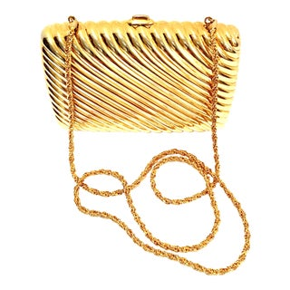 20th Century Judith Leiber Gold Ribbed Minaudière Box Clutch Evening Bag For Sale