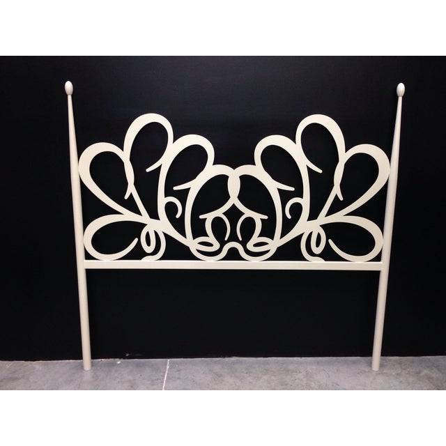 Shabby Chic White Iron Headboard - Image 2 of 4