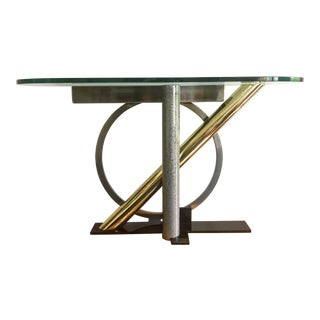 Post Modern Kaizo Oto Mixed Metal Sculptural Console Table From Design Institute of America For Sale