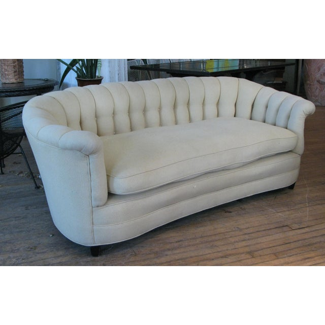 1940s Vintage Button Tufted Sofa For Sale - Image 4 of 7