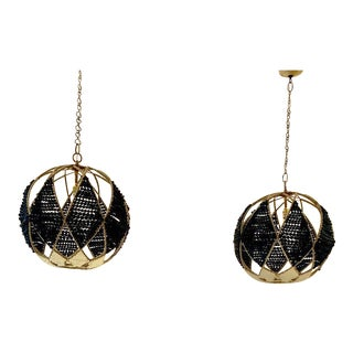Ro Sham Beaux Blue Beaded Hanging Pendants - a Pair For Sale