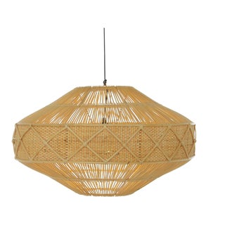 Round Pendant, Large, Beige, Rattan For Sale