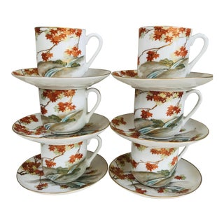 Vintage Japanese Kutani Demitasse Cups & Saucers -6 Sets For Sale