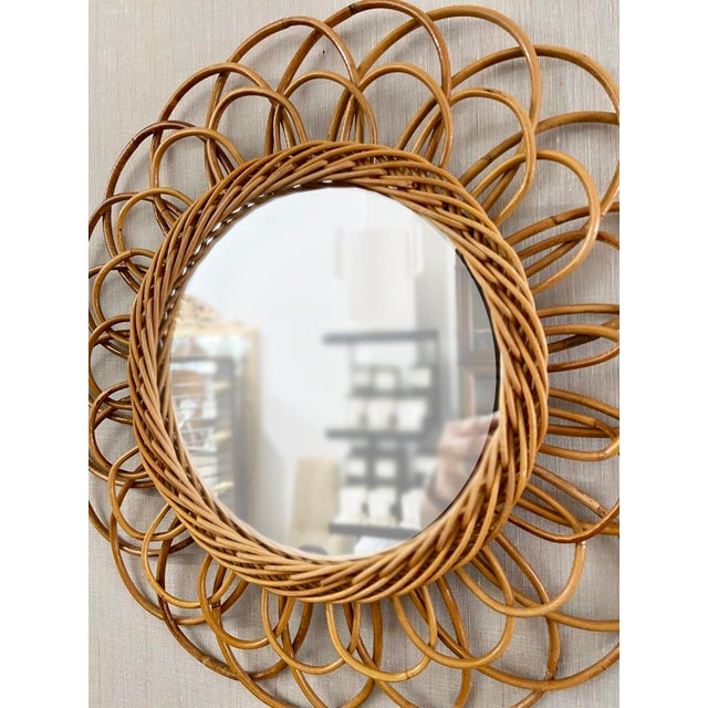Mid-Century Modern Vintage French Rattan Mirror For Sale - Image 3 of 6
