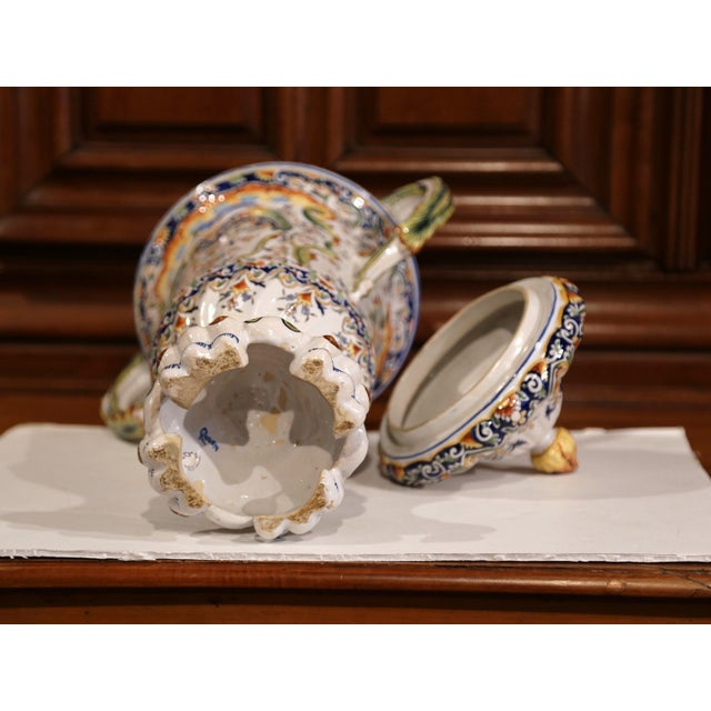 19th Century French Hand Painted Ceramic Vase With Lid From Normandy For Sale - Image 10 of 12