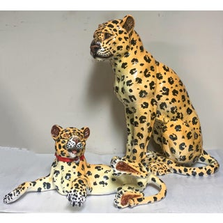 Mother and Baby Italian Terracotta Leopard Figurines Preview