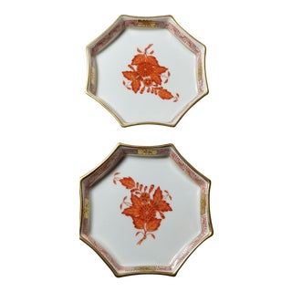 1970s Herend Chinese Bouquet Small Dishes in Rust - a Pair For Sale