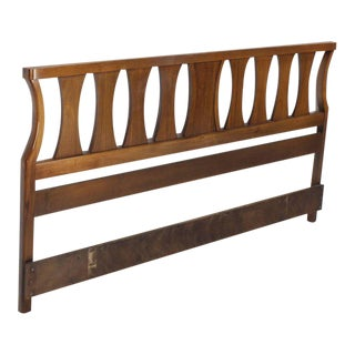 King-Size Mid-Century Modern Walnut Headboard Bed For Sale