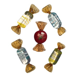 Murano Glass Hand Blown Candy Pieces - Set of 5 For Sale
