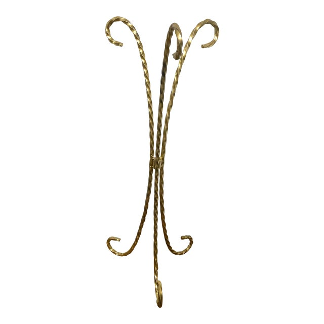 Vintage Gold Toned Twisted Iron Plant Stand For Sale