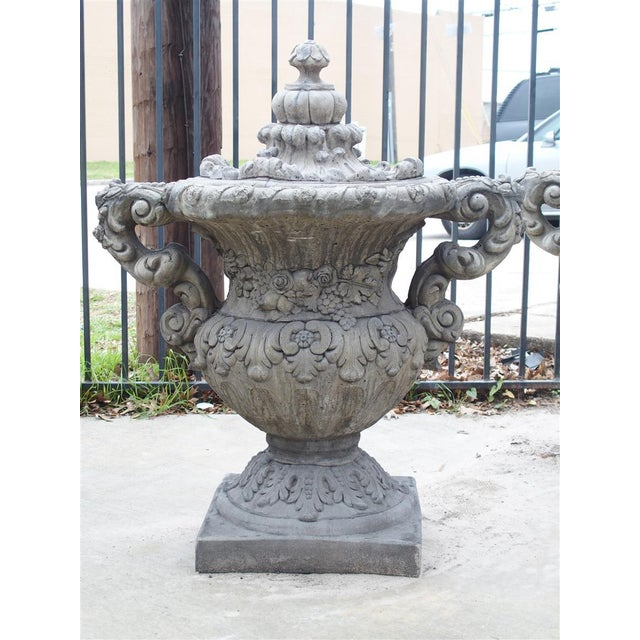 Gothic Pair of Cast Renaissance Style Lidded Outdoor Vases From France For Sale - Image 3 of 12