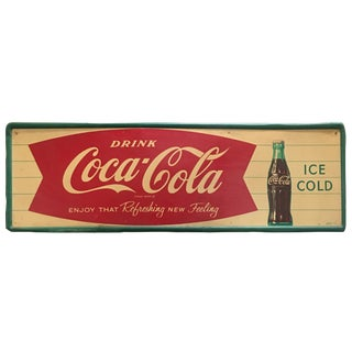 1963 Coca-Cola Fishtail Metal Tin Sign For Sale