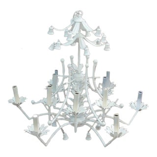 Chinoiserie Lacquered Palm Beach Chandelier For Sale