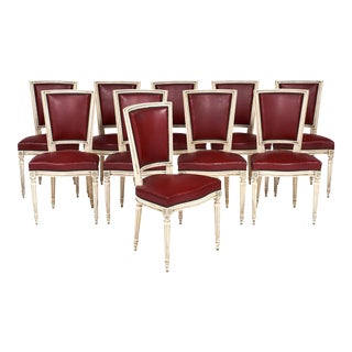 Set of Ten Red Louis XVI Style Dining Chairs