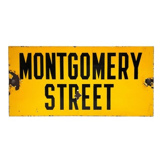"1960s New York City Yellow Street Sign, ""Montgomery Street"" For Sale"