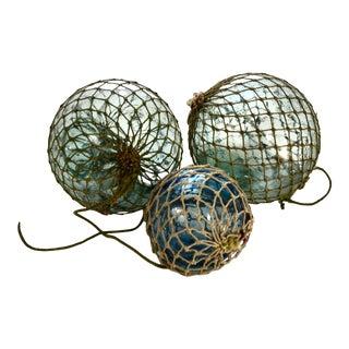 Aqua Blue Glass Fishing Floats - Set of 3 For Sale