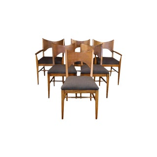 Mid Century Broyhill Saga Walnut Paul McCobb Style Dining Chairs Six For Sale