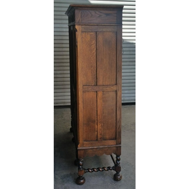 Gothic Antique Oak Barley Twist Bookcase Display China Cabinet / Bookcase Hutch For Sale - Image 3 of 12