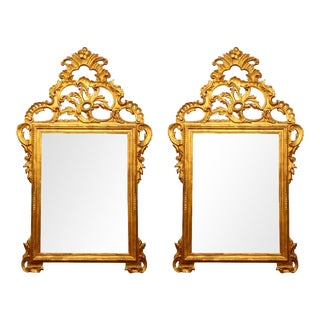 Pair of Large Louis XV Style Carved Mirrors For Sale