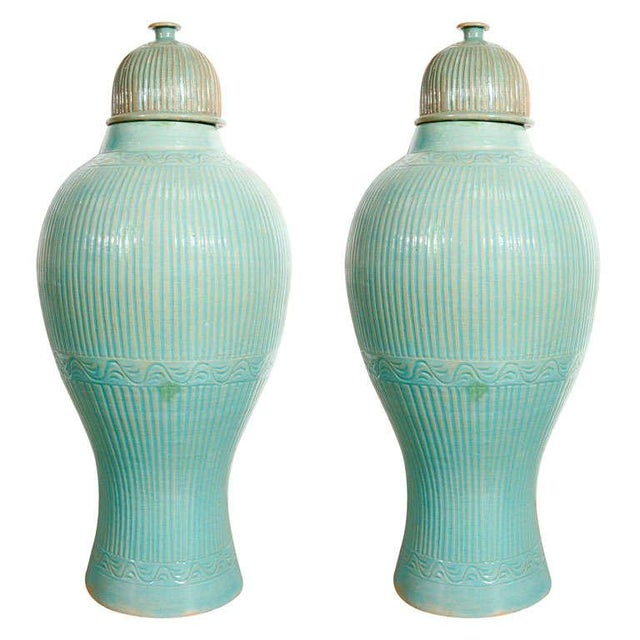 Mid Century Large Moorish Blue Ceramic Urns With Lid - a Pair For Sale - Image 10 of 10