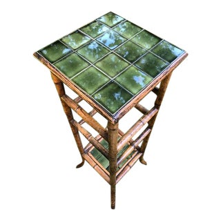 Vintage Bamboo and Tile Pedestal/Plant Stand For Sale