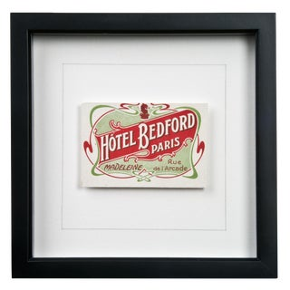 Framed French Bedford Hotel Luggage Label For Sale