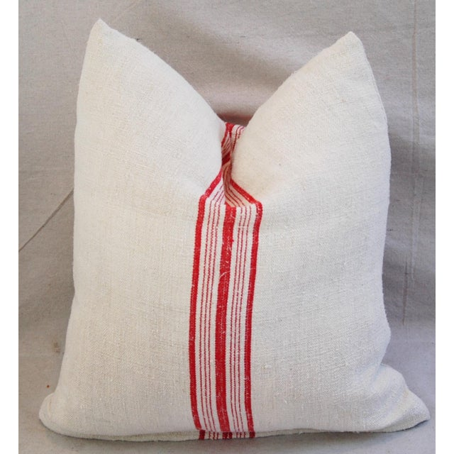 Red Stripe French Grain Sack Pillows - Pair - Image 5 of 11