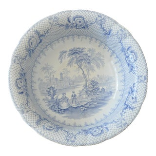 English Blue and White Transferware Bowl For Sale
