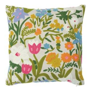 Schumacher Crewel Garden Pillow in Multi For Sale