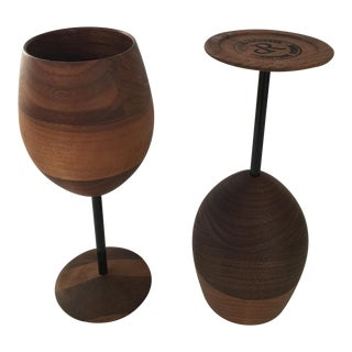 David Rasmussen Artisan Wooden Wine Glasses-Pair of 2 For Sale