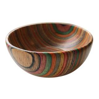 Charming Spanish Artisan Rainbow Wooden Bowl For Sale