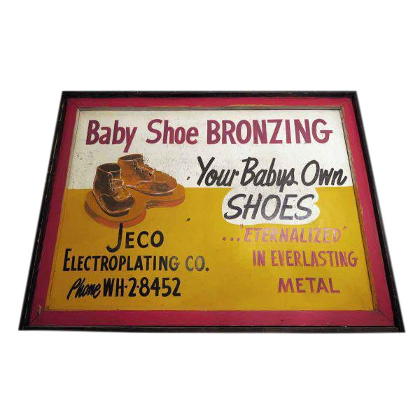 Double Sided Baby Shoe Bronzing Sign For Sale
