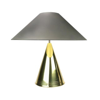 1980s Conical Brass Table Lamp For Sale