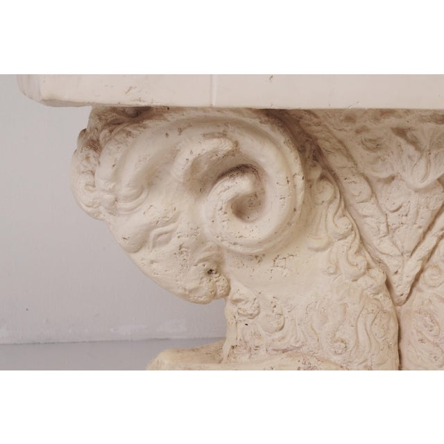 Late 20th Century Neoclassical Double Rams Head Plaster Console Table For Sale - Image 5 of 8