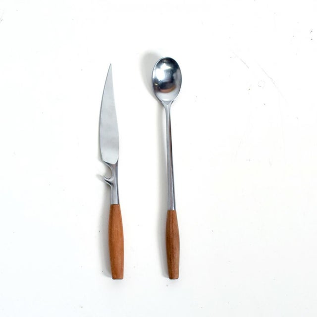 For your consideration, a Dansk Flatware Set 53 Pieces. Constructed with Teak Stainless. Model Fjord, designed by Jens H...