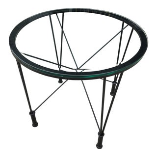 1970s Post Modern Glass Top Round Metal Side Table For Sale
