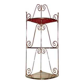 Mid-Century Modern Brass & Glass Shelf