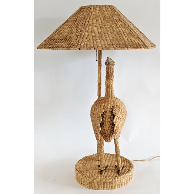 Boho Chic Mario Lopez Torres 1974 Monumental Egret Wicker Table Lamp For Sale - Image 3 of 13