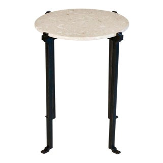 Mismatched Flatiron Side Table Black With White Marble