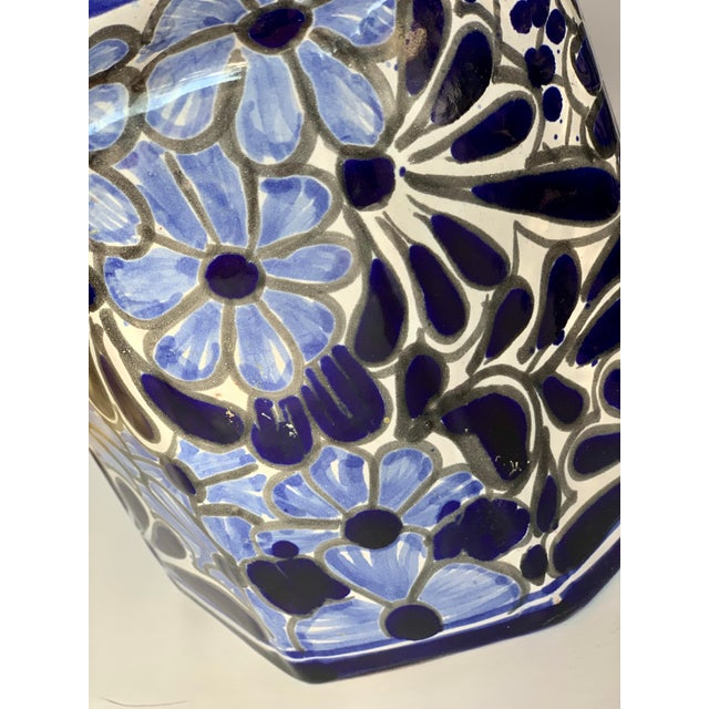 Vintage Mexican Hand Painted 'Amora' Talavera Pottery Canister Set With Lids - Set of 3 For Sale - Image 4 of 13