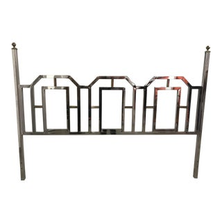 Mid-Century Modern King Chrome and Brass Headboard in the Manner of Milo Baughman Dia