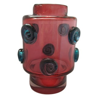 Modernist Czech Art Glass Vase, Hospodka Prachen For Sale