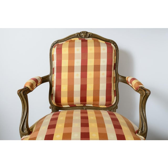 Pair of French painted fauteuil armchairs Louis XV style but late 19th century. New upholstery.