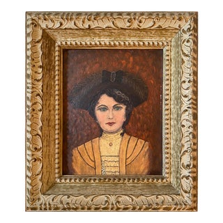 Mid 20th Century Victorian Portrait Painting, Framed For Sale