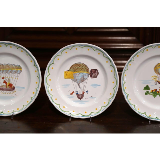 Set of Six French Hand-Painted Ceramic Hot Air Balloon Plates From Brittany For Sale - Image 10 of 13