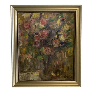 Original Oil Painting on Canvas of Flowers For Sale
