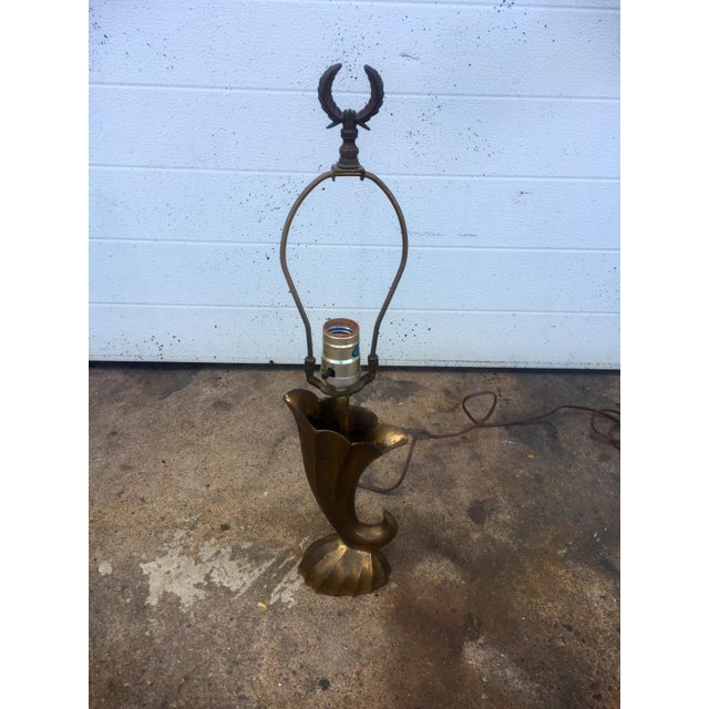 Brass Pierre Cardin Style Vintage Solid Brass Table Lamp For Sale - Image 7 of 11