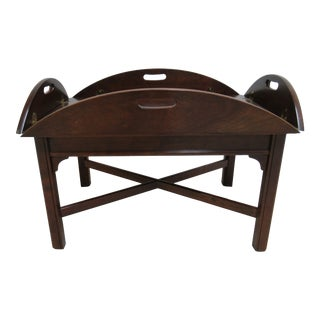 Vintage Campaign Cherry Butlers Tray Top Coffee Table For Sale