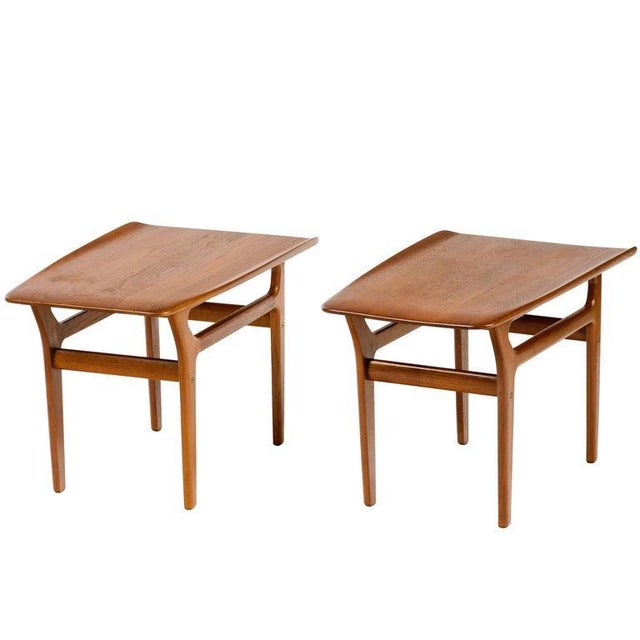 Danish Modern Pair of Danish Modern Teak Side Tables in the Style of Poul Jensen For Sale - Image 3 of 11