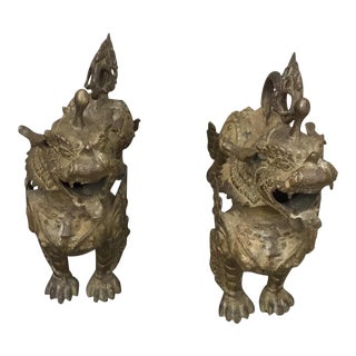 1910 Bronze Lion Dogs - a Pair For Sale